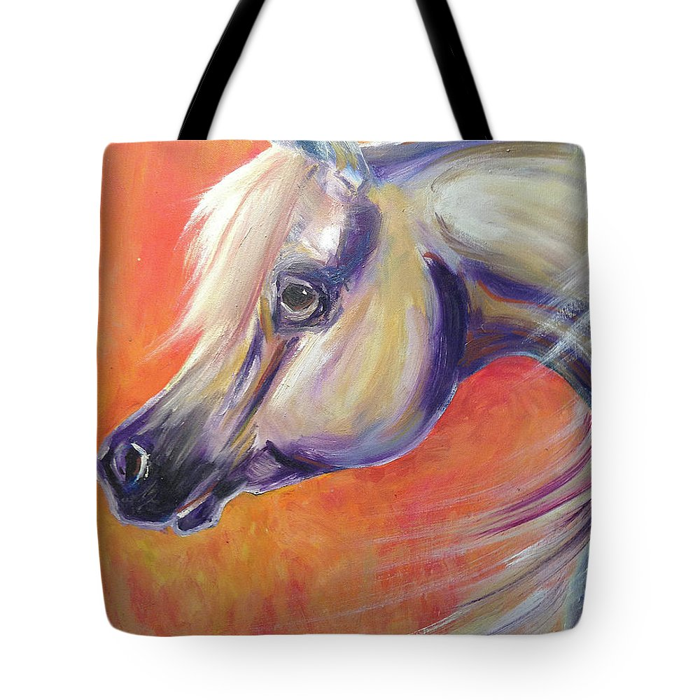Arabian Tote Bag featuring the painting Windswept Arabian Horse by Andrea De Carlo