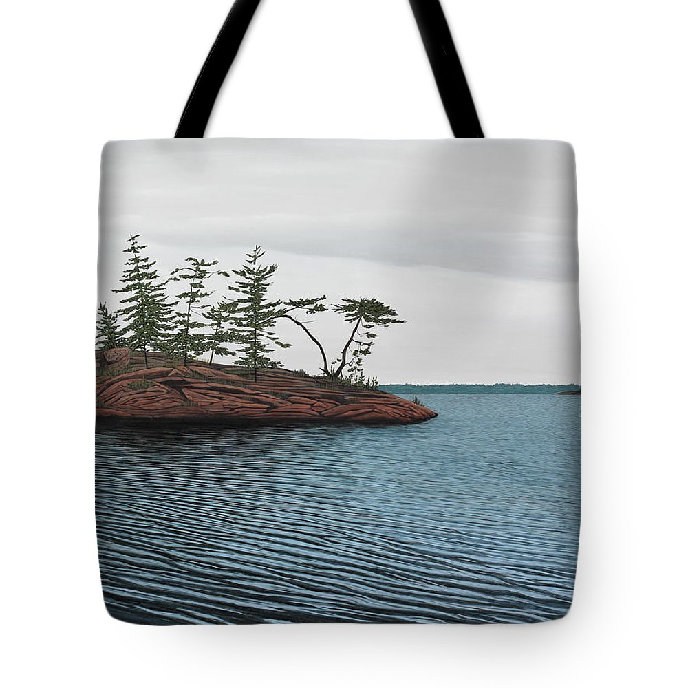 Island Tote Bag featuring the painting Windswept Island Georgian Bay by Kenneth M Kirsch