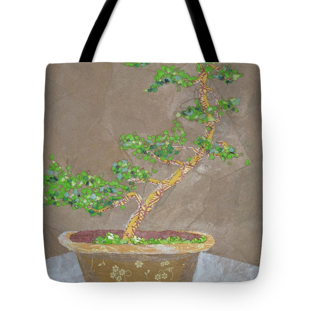 Banzai Tree Tote Bag featuring the painting Windswept Juniper by Leah Tomaino