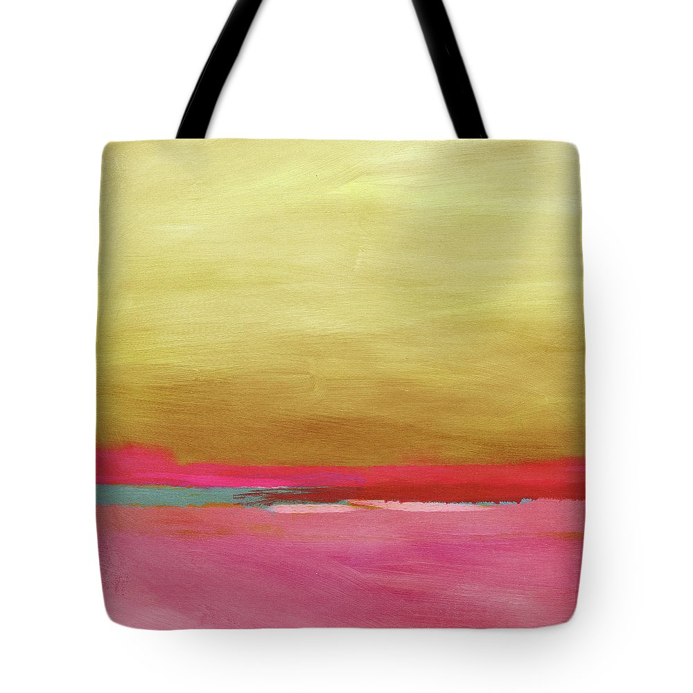 Abstract Tote Bag featuring the mixed media Windswept Sunrise- Art by Linda Woods by Linda Woods