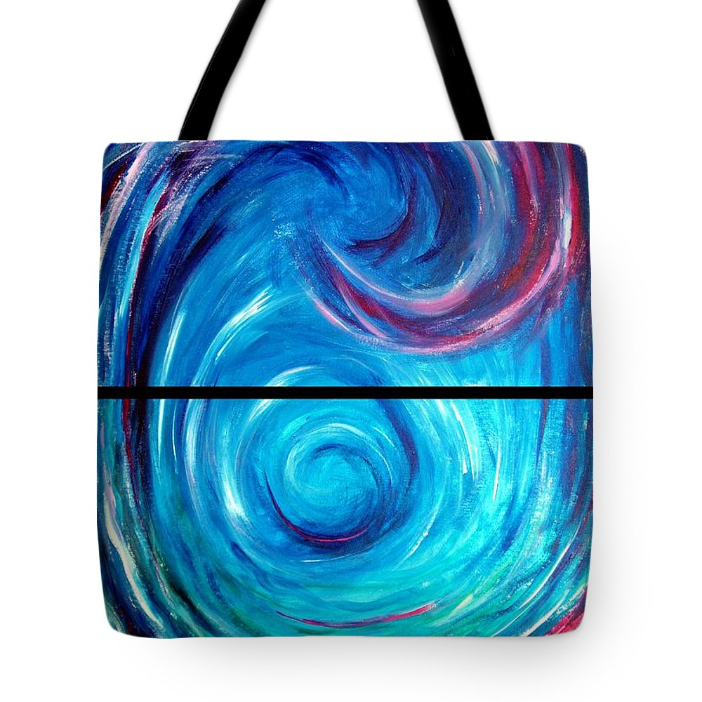 Blue Tote Bag featuring the painting Windwept Blue Wave And Whirlpool Diptych 1 by Nancy Mueller