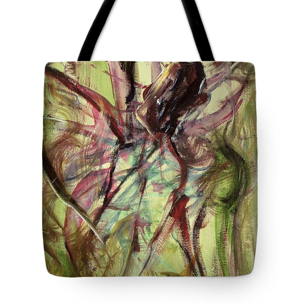 Female Tote Bag featuring the painting Windy Day by Ikahl Beckford