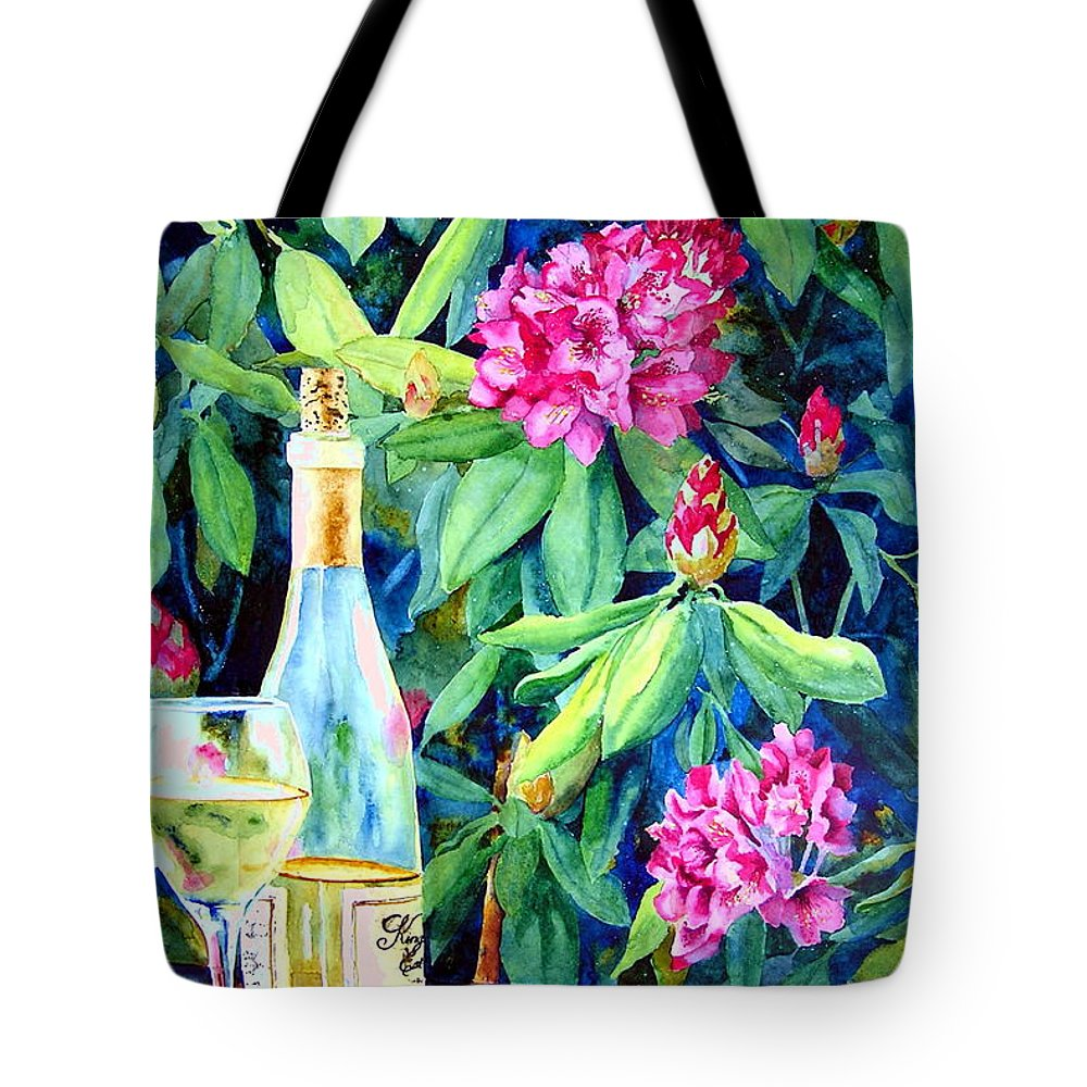 Rhododendron Tote Bag featuring the painting Wine And Rhodies by Karen Stark