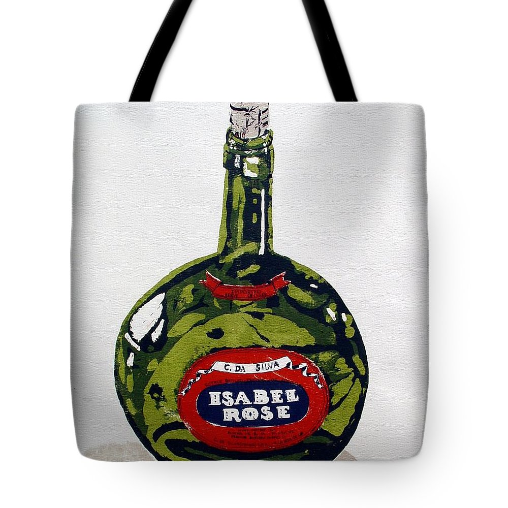 Silk Screen Tote Bag featuring the mixed media Wine Bottle by Ron Bissett