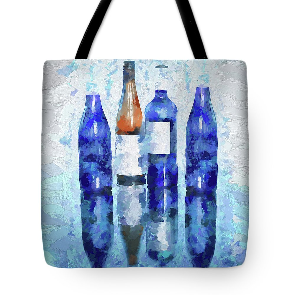 Digital Touch Tote Bag featuring the digital art Wine Bottles Reflection by OLena Art Lena Owens