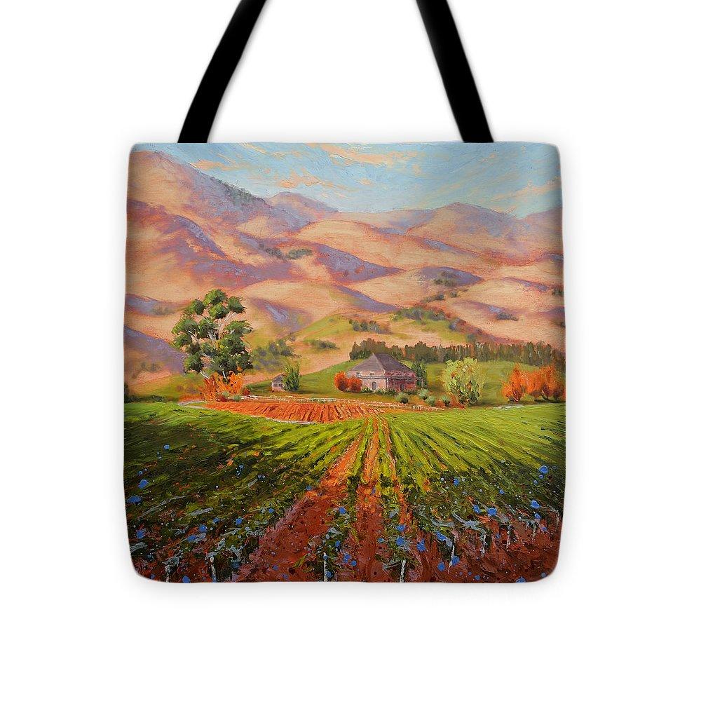 Vineyard Tote Bag featuring the painting Wine Country II - Talley Vineyard Arroyo Grande by Lynee Sapere