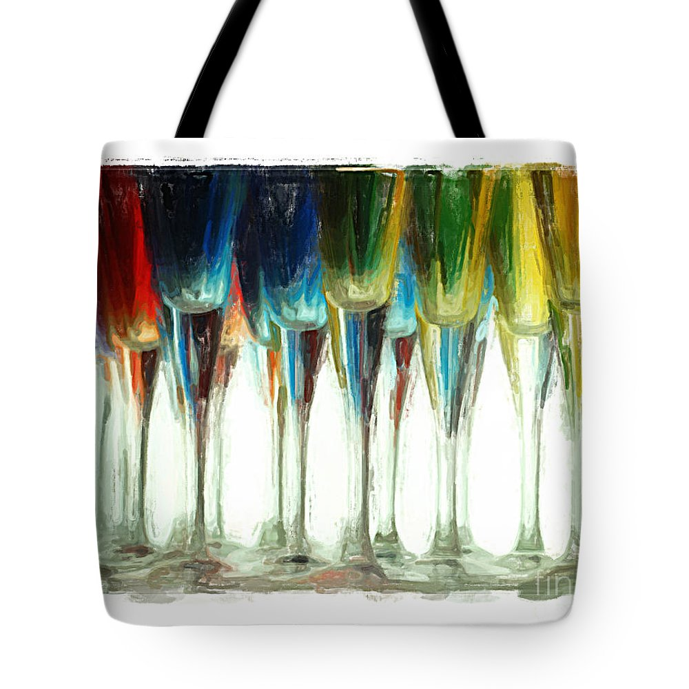Art Deco Tote Bag featuring the mixed media Wine Flutes by Henry J Yasses