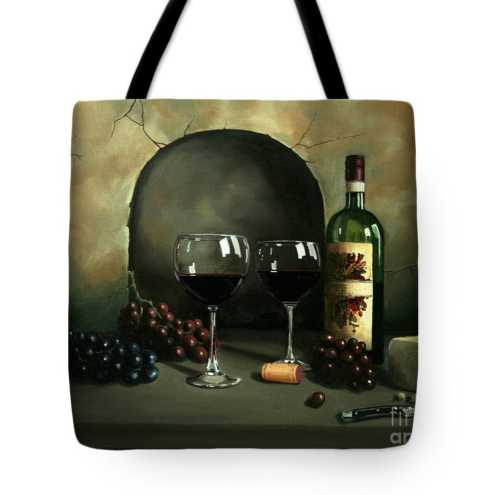 Wine Tote Bag featuring the painting Wine For Two by Paul Walsh