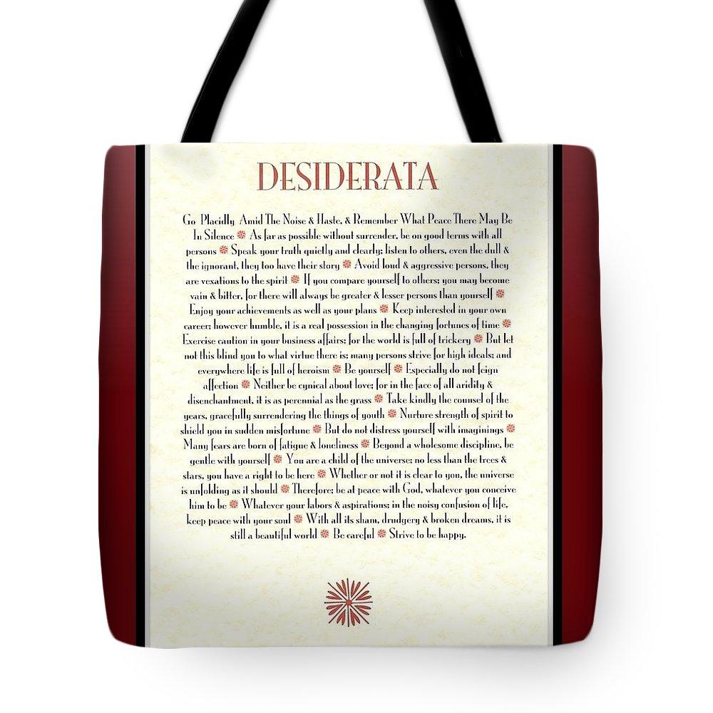Desiderata Tote Bag featuring the mixed media Wine Framed Sunburst Desiderata Poem by Desiderata Gallery