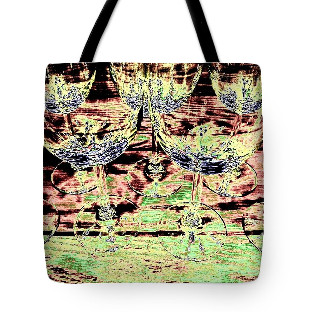 Wine Glasses Tote Bag featuring the digital art Wine Glasses by Will Borden