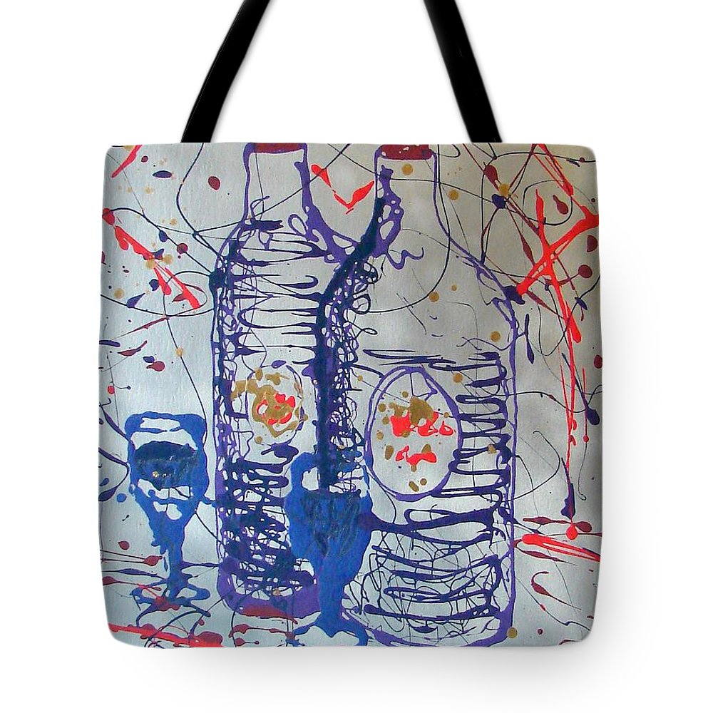 Wine Glass And Bottles Tote Bag featuring the painting Wine Jugs by J R Seymour