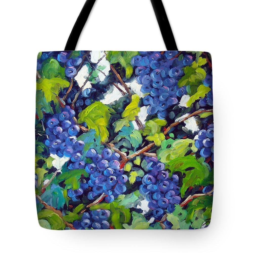 Fruits Tote Bag featuring the painting Wine On The Vine by Richard T Pranke