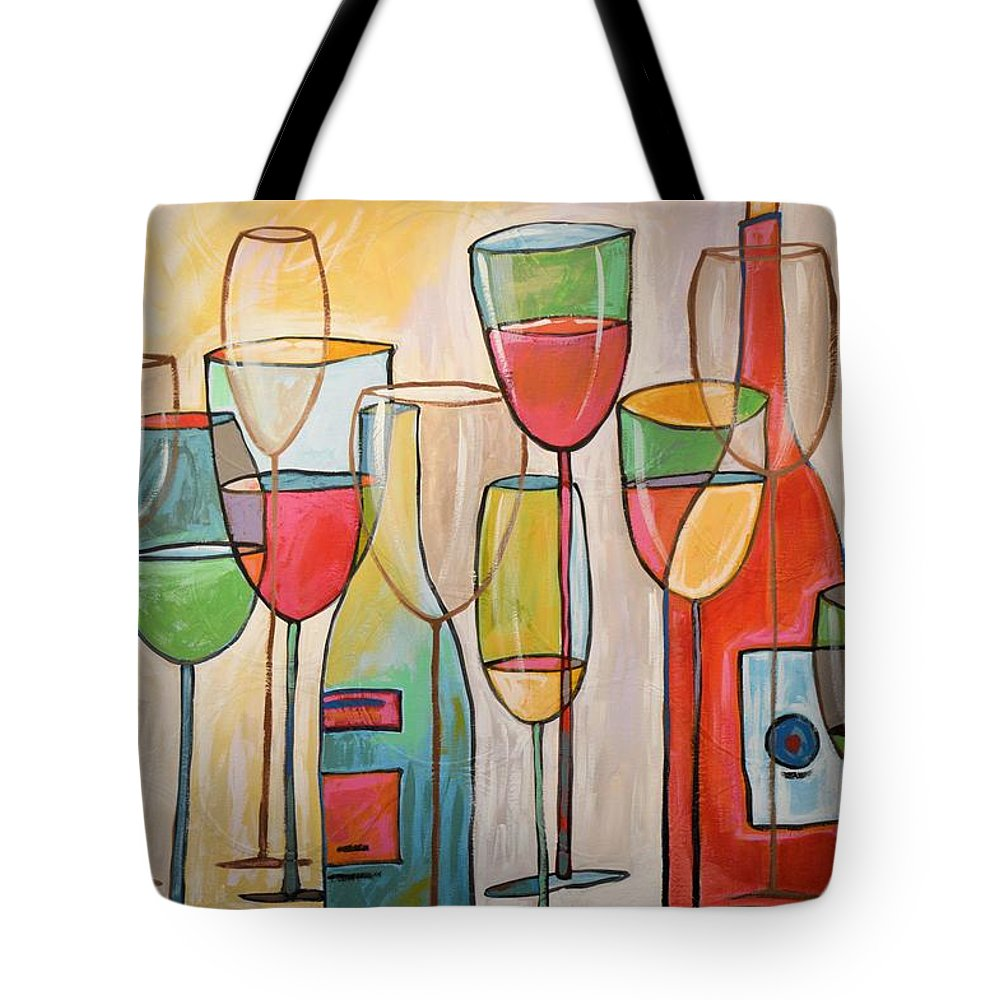 Wine Tote Bag featuring the painting Wine Tasting by Amy Giacomelli