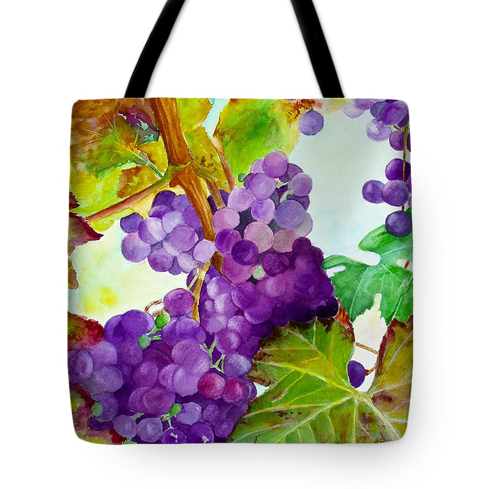 Wine Tote Bag featuring the painting Wine Vine by Karen Fleschler