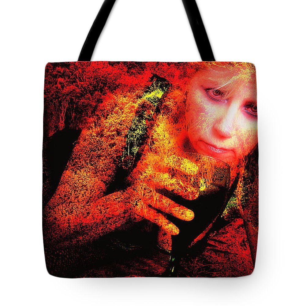 Clay Tote Bag featuring the photograph Wine Woman and Fall Colors by Clayton Bruster