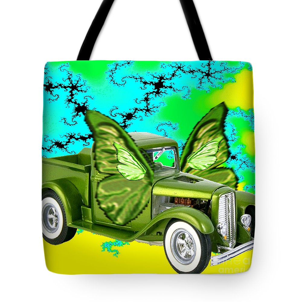 Automobile Tote Bag featuring the painting Wing Truck by Belinda Threeths