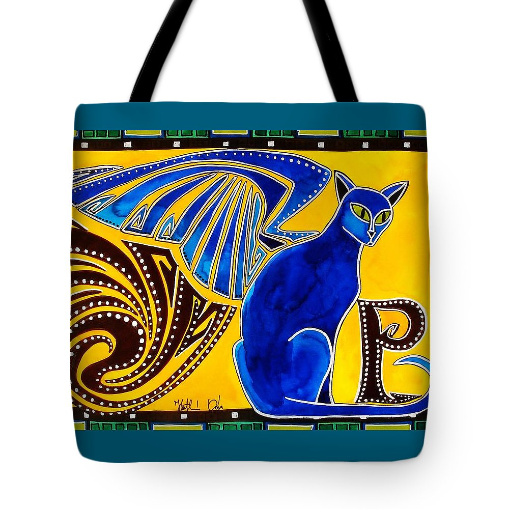 Cat Art Tote Bag featuring the painting Winged Feline - Cat Art with letter P by Dora Hathazi Mendes by Dora Hathazi Mendes