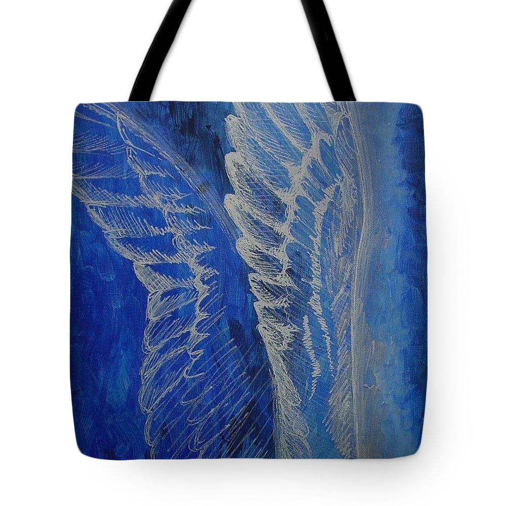 Acrylic Tote Bag featuring the painting Wings Of Angel by Jindra Noewi
