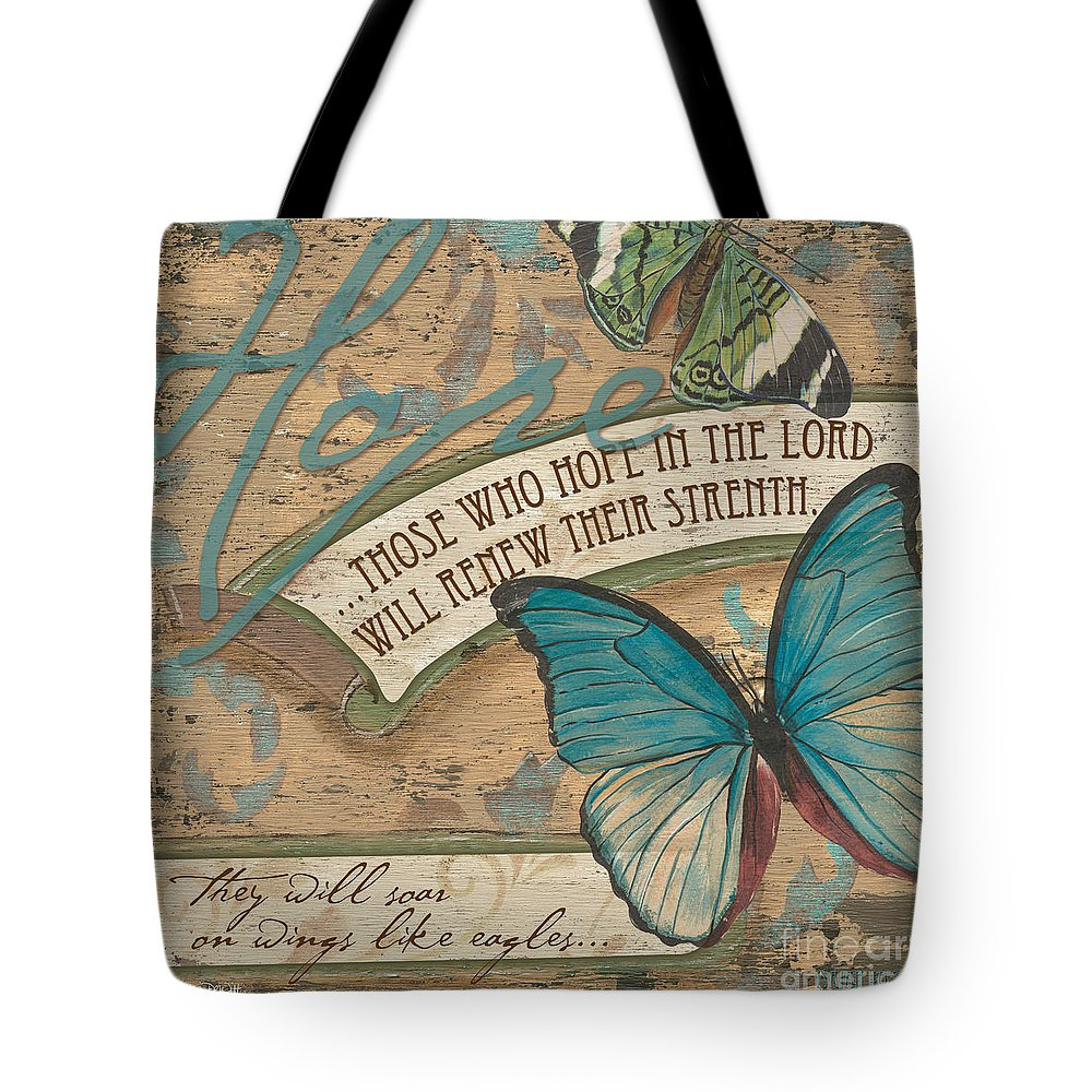 Butterfly Tote Bag featuring the painting Wings of Hope by Debbie DeWitt