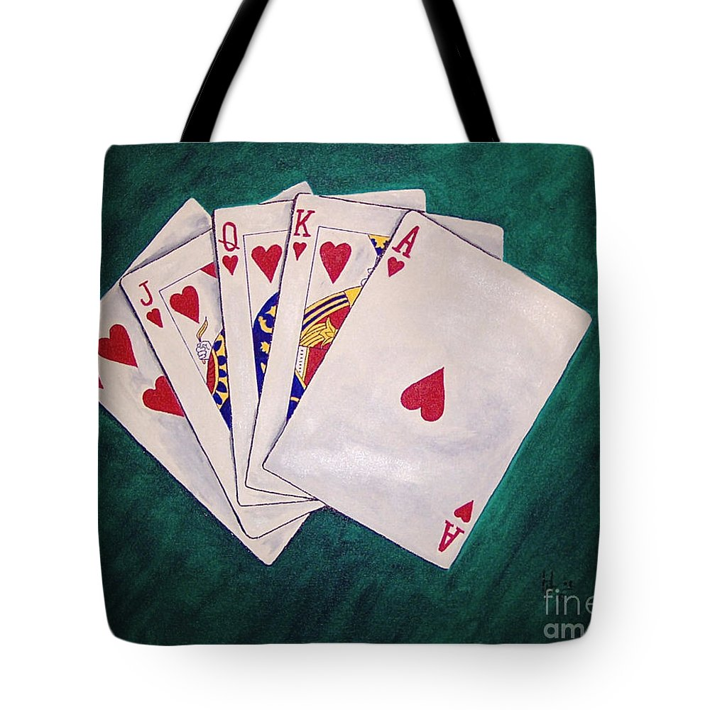 Playing Cards Wining Hand Role Flush Tote Bag featuring the painting Wining Hand 2 by Herschel Fall