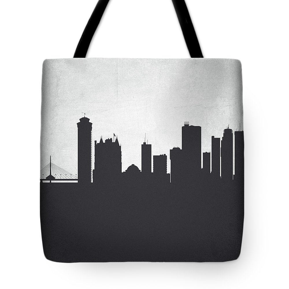 Winnipeg Tote Bag featuring the painting Winnipeg Manitoba Cityscape 19 by Aged Pixel