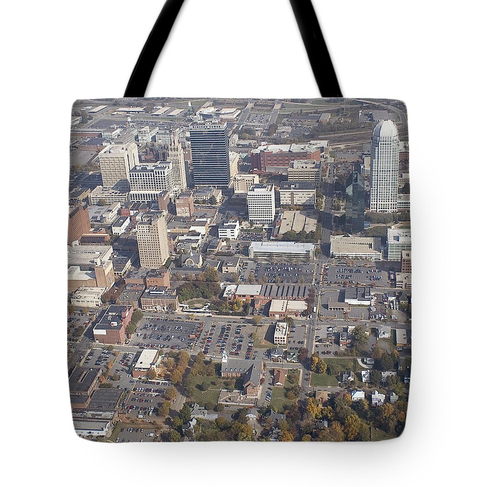 Aerial Tote Bag featuring the photograph Winston-salem Nc by Robert Ponzoni