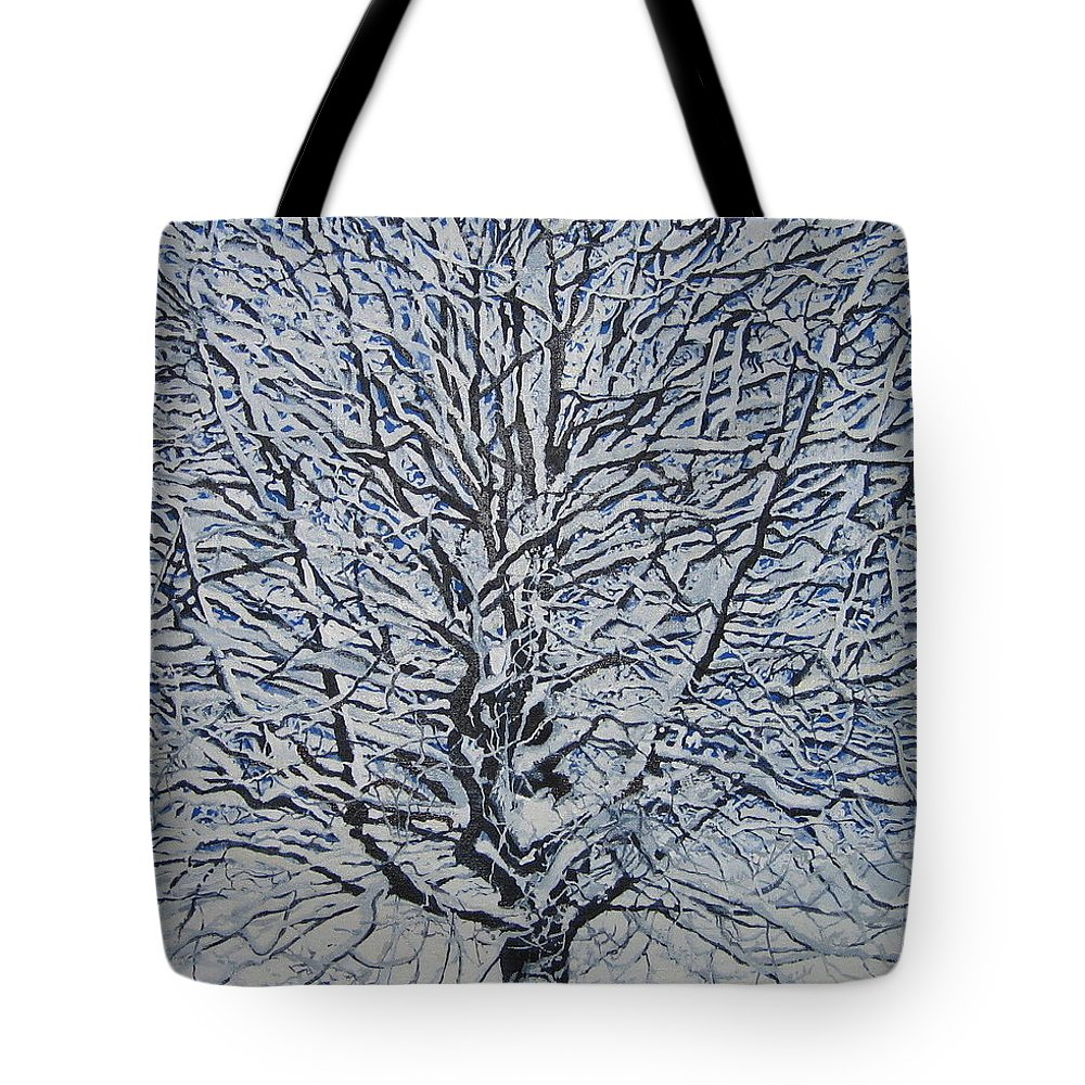 Winter Tote Bag featuring the painting Winter '05 by Leah Tomaino
