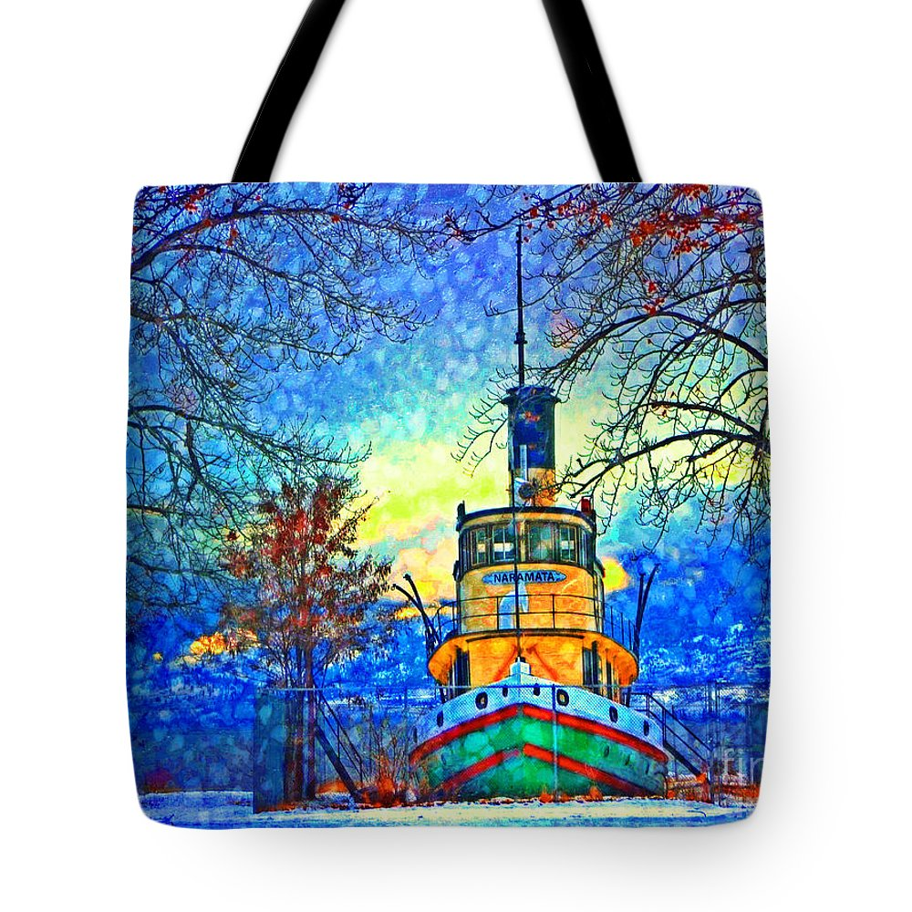 Tug Tote Bag featuring the photograph Winter And The Tug Boat 2 by Tara Turner