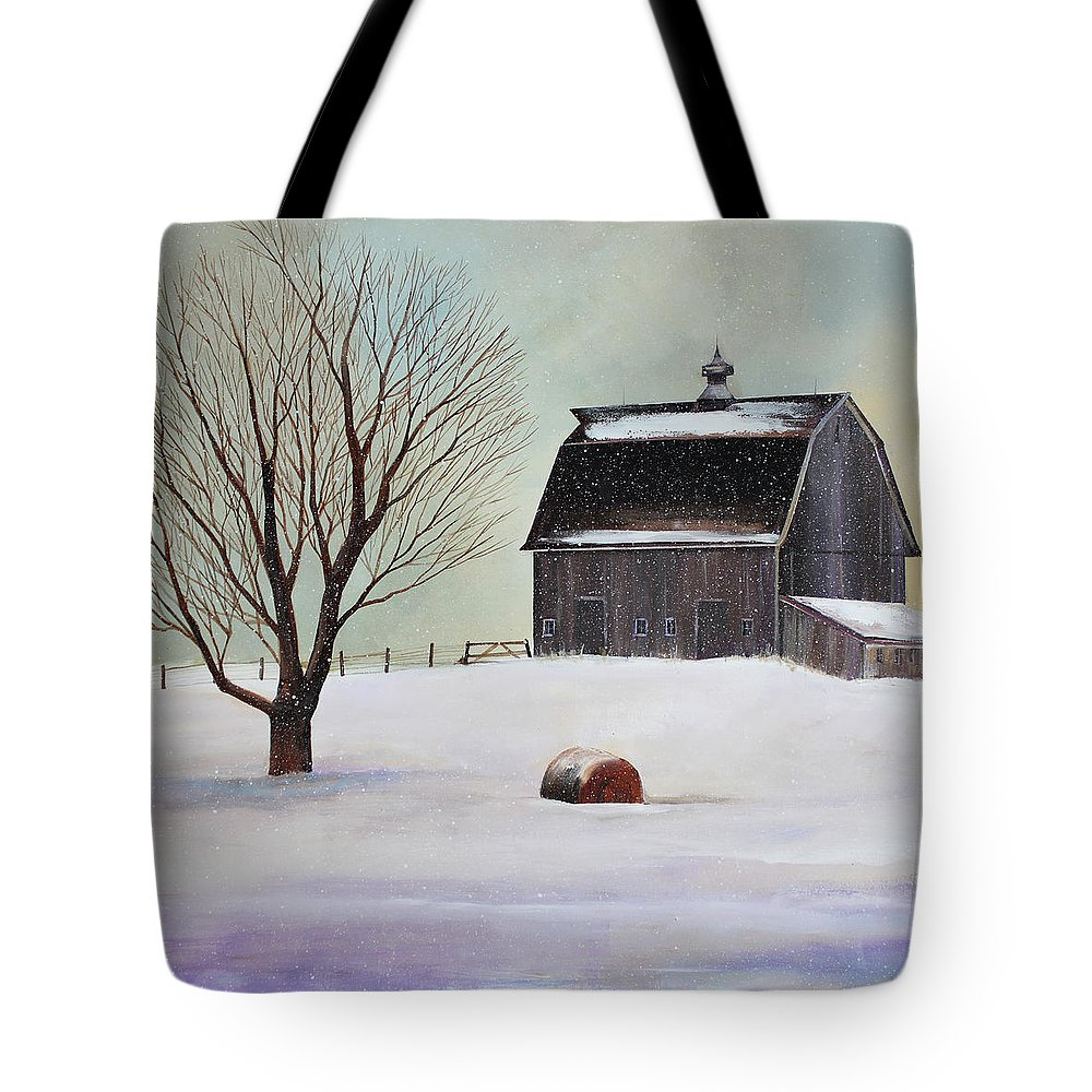 Barn Tote Bag featuring the painting Winter Barn II by Toni Grote