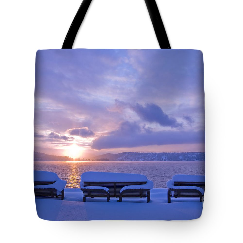 Lake Tote Bag featuring the photograph Winter Benches by Idaho Scenic Images Linda Lantzy