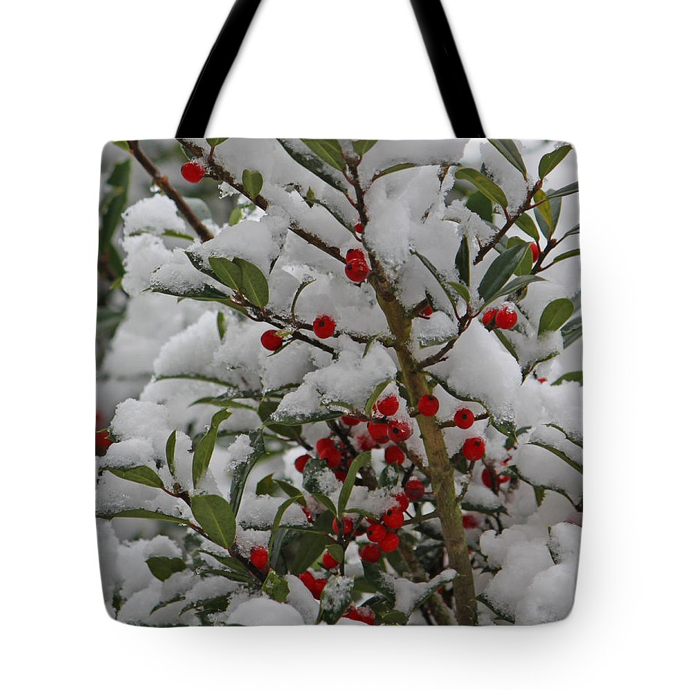 Berry Tote Bag featuring the photograph Winter Berries In Watercolor by Suzanne Gaff