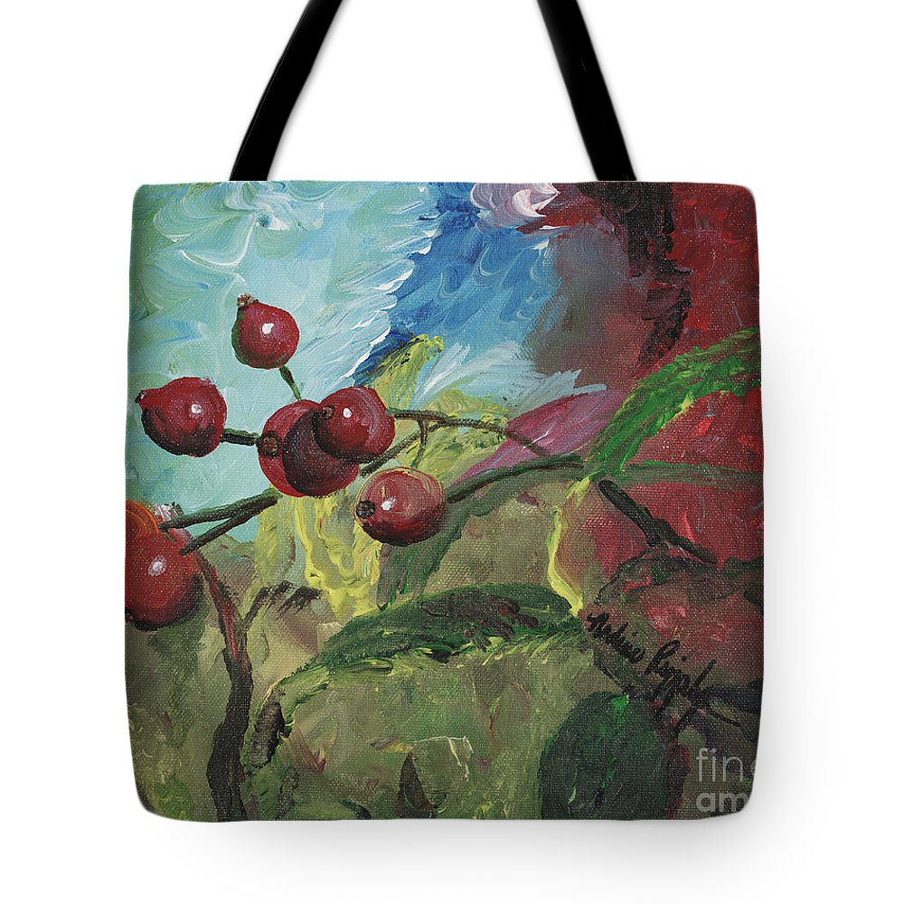 Berries Tote Bag featuring the painting Winter Berries by Nadine Rippelmeyer