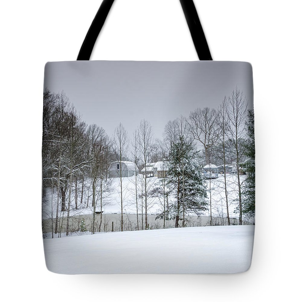 Asheville Tote Bag featuring the photograph Blizzard Beauty by Claire Turner