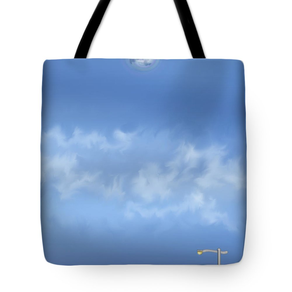 Moon Tote Bag featuring the painting Winter Blue Moon At Three Forty Five In The Afternoon by Anne Norskog