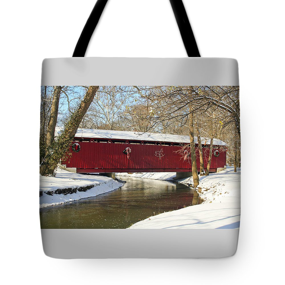Covered Bridge Tote Bag featuring the photograph Winter Bridge by Margie Wildblood