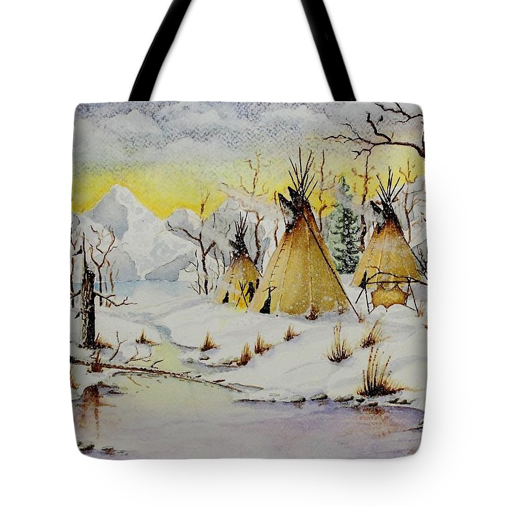 American Tote Bag featuring the painting Winter Camp by Jimmy Smith