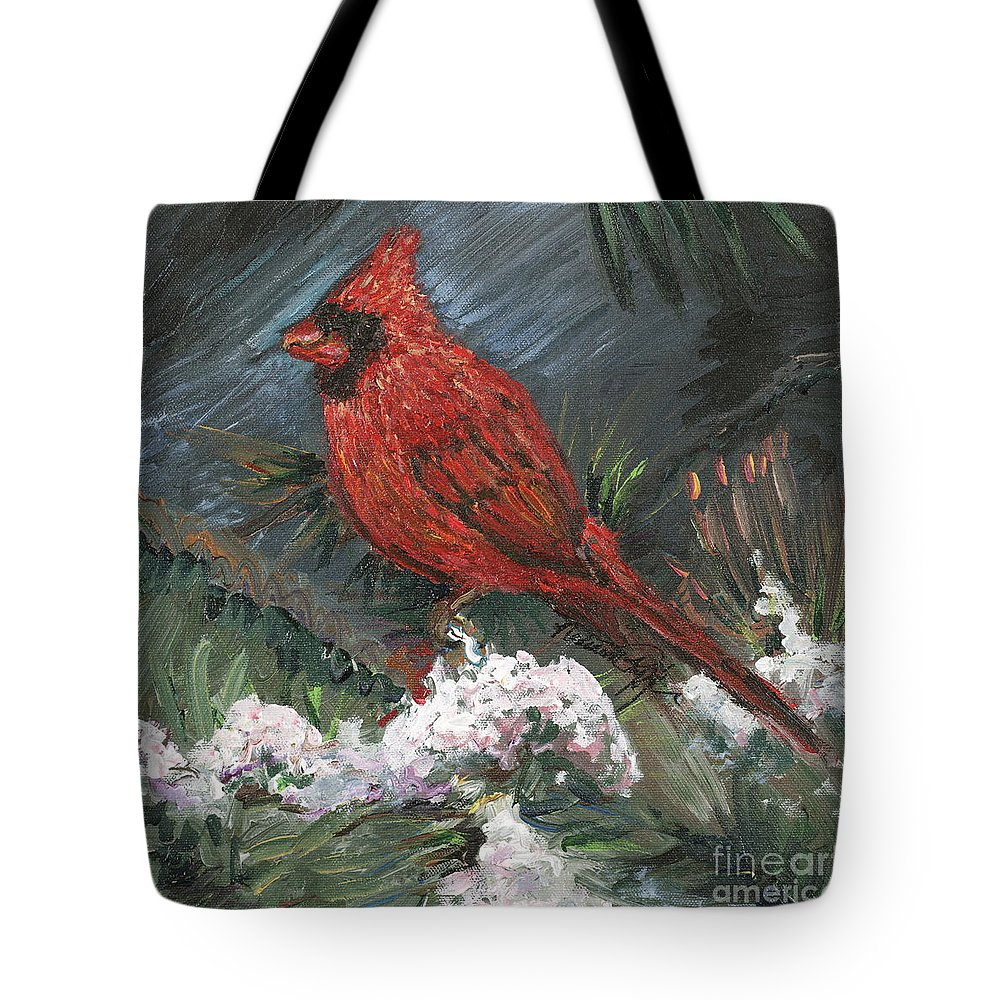 Bird Tote Bag featuring the painting Winter Cardinal by Nadine Rippelmeyer