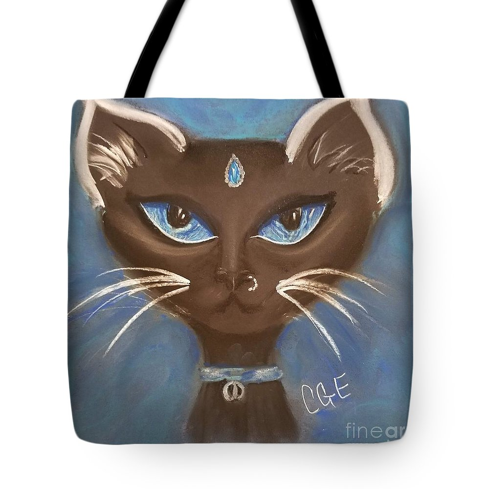 Cat Tote Bag featuring the pastel Winter Cat by Crystal Elswick