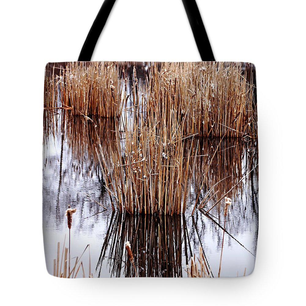 Cattails Tote Bag featuring the photograph Winter Cattails by Debbie Oppermann