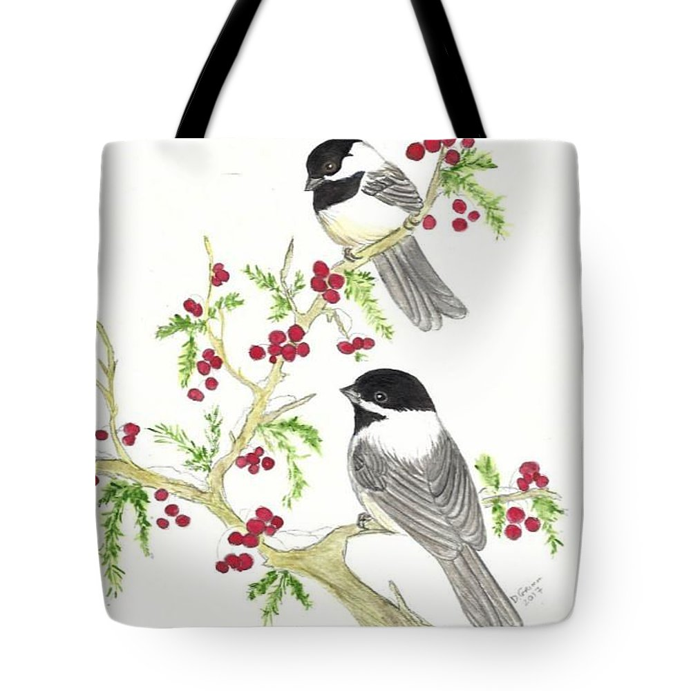 Watercolor Tote Bag featuring the painting Winter Chickadees And Berries by Dee Grimm