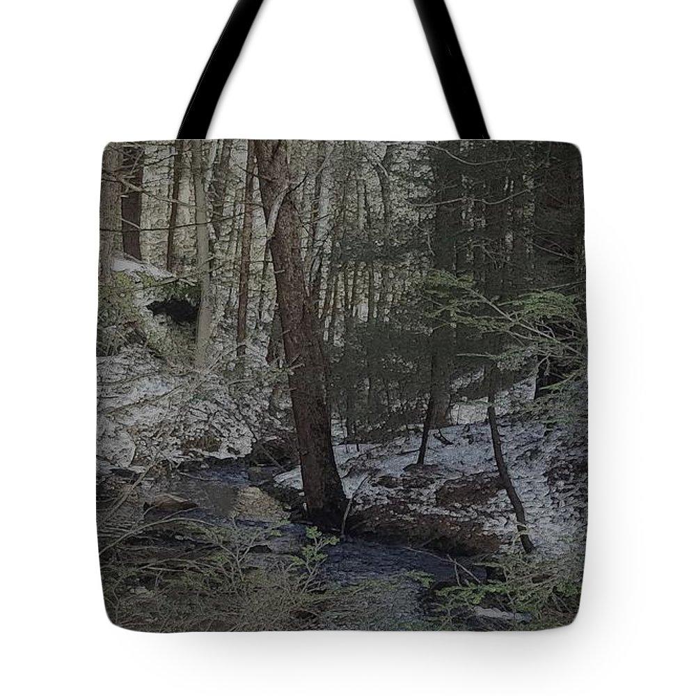 Creek Tote Bag featuring the digital art Winter Creek by Kevin Humphrey