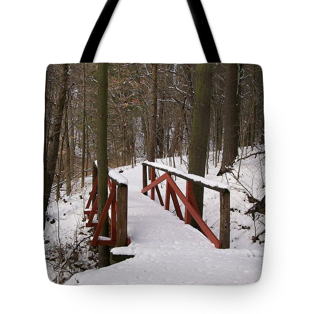 Woods Tote Bag featuring the photograph Winter Crossing by Sara Raber