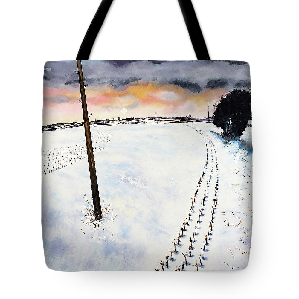 Landscape Tote Bag featuring the painting Winter by David Evans