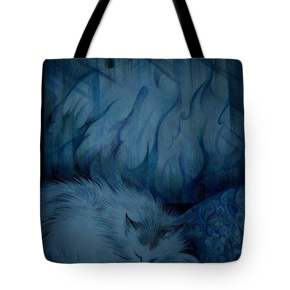 Winter Tote Bag featuring the drawing Winter Day Napping by Anna Duyunova