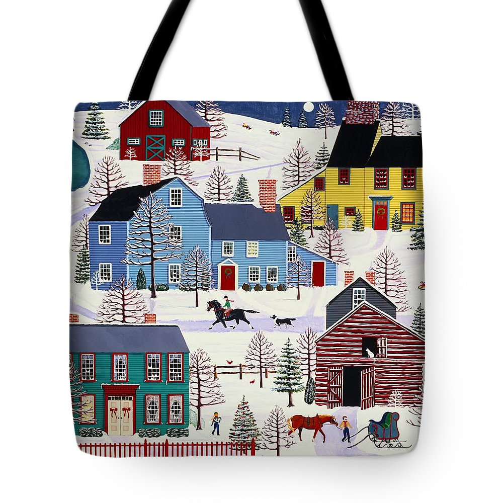 Folk Art Tote Bag featuring the painting Winter Evening Fun by Susan Henke