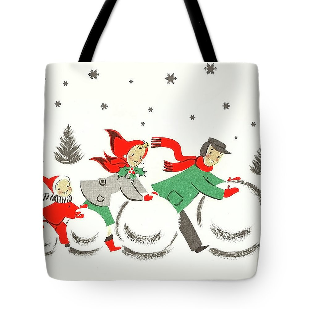 Winter Tote Bag featuring the mixed media Winter Family Fun by Long Shot