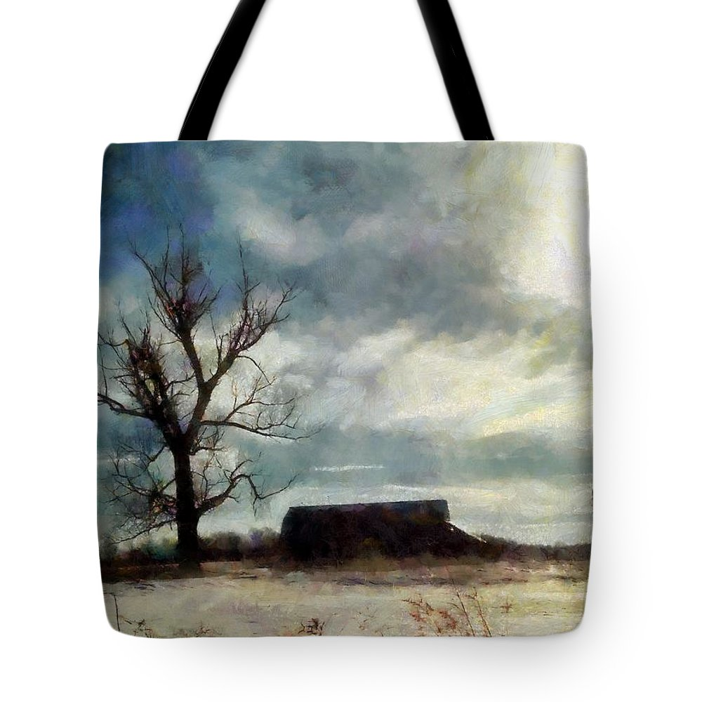 Barn Tote Bag featuring the photograph Winter Farm by Janine Riley