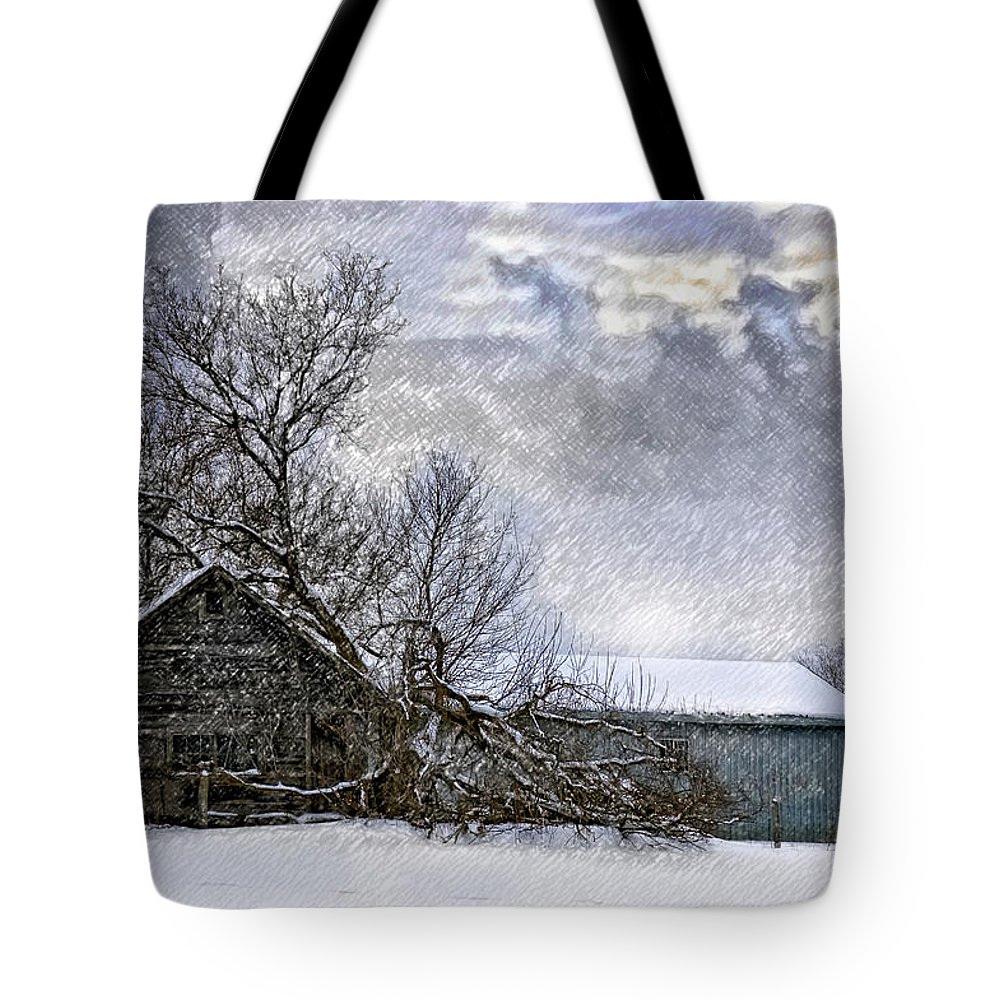 Winter Tote Bag featuring the photograph Winter Farm by Steve Harrington