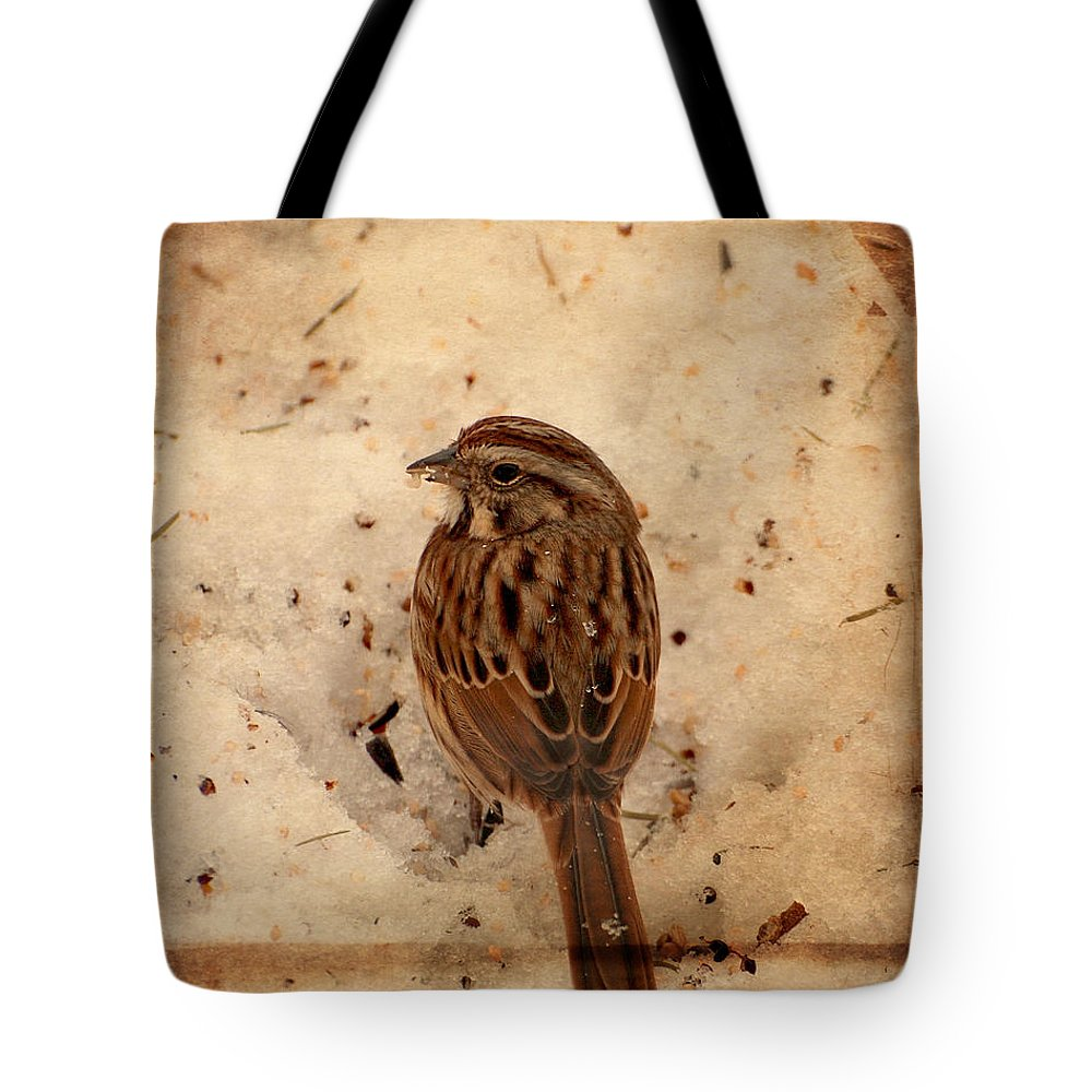 Sparrows Tote Bag featuring the photograph Winter Feast I - Textured by Angie Tirado