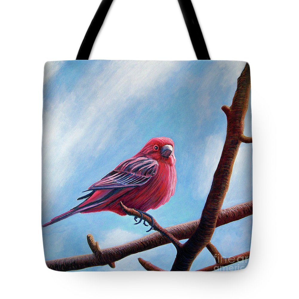 Bird Tote Bag featuring the painting Winter Finch by Brian Commerford
